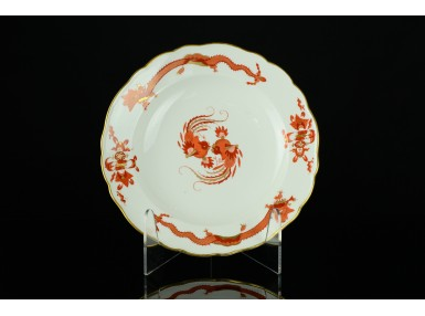 PATERA TALERZ MIŚNIA RED DRAGON SMOKI 1850-1924